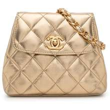 CHANEL Pre Owned 1997 Metallic Diamond Quilted Belt Bag Gold