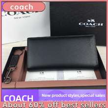 Coach Fast Delivery [In Stock] Fashion Sale F74978 Men'S Wallet Long Wallet Zipper Wallet Business Fashion (Gift Box) Fast Delivery (01)