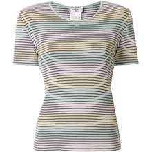 CHANEL Pre Owned 1998 Striped T Shirt Blue