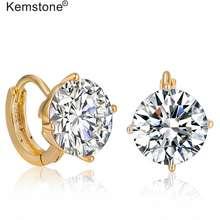 Kemstone Clear Round Diamond Hoop Earrings Fashion Women Jewelry