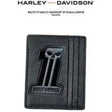 Harley-Davidson Men'S Black Label #1 Skull Front Pocket Wallet Blk Card Holder