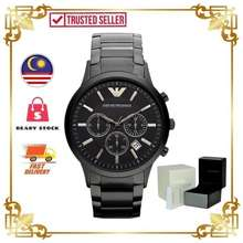 Armani [Authentic] Original Men'S Chronograph Black Ion-Pleated Watch Ar2453