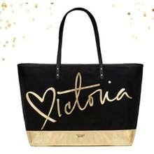 Victoria's Secret Nwt Limited Edition Black & Gold Tote Bag