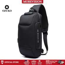 Ozuko Sling Bag Usb Anti-Theft Men'S Chest Beg With Password Lock New Casual Crossbody Shoulder Waterproof Oxford Cloth