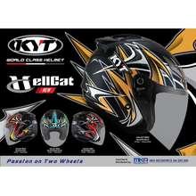 KYT Hellcat - Galaxy Bike - Mimetic Blue, Red, Grey (Open Face Helmet)