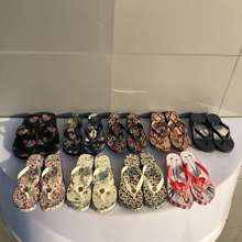 Tory Burch 【9-Color!!】 Lady'S 2020 Summer Flower And Green Plant Element Series Slippers Flip Flops