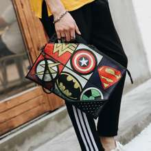 Marvel (Ready Stock) Design Clutch Pouch Bag,Wallet Holding Soft Black Leather Material #Dm