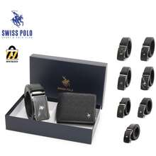 Swiss Polo Mens Rfid Bifold Wallet And Automatic Belt Gift Set Box Sgs-1 Black