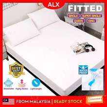ALX BORONG Malaysia FITTED Waterproof Ultra Soft Breathable Elastic Bedsheet Mattress Protector Elastic Bedsheet Strong Water Absorption Single Queen King Size Bedsheet Cadar Tilam (White, Plain & Hotel)