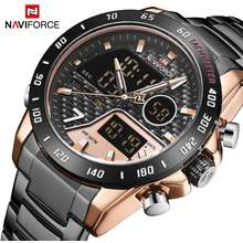 Naviforce New Sport Men Watches Fashion Led Digital Military Quartz Wrist Watch Steel Dual Display Clock Men