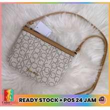 Calvin Klein Women'S Monogram Logo Shoulder Zip White/Tan Crossbody Small Bag Handbag Women Beg Tangan Wanita