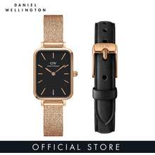 Daniel Wellington Gift Set - Quadro 20X26 Pressed Melrose Rg Black + Quadro 10 Pressed Sheffield Rg - Watch And Strap Set For Women - Dw Official - Authentic