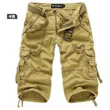 AOWOFS Men'S 3/4 Length Loose Multi-Pockets Washed Cropped Cargo Shorts,Plus Size Summer Outdoor Army Camo Trousers.