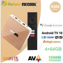 Mecool Km6 Wifi 6 Google Certified Tv Box Android 10.0 4Gb 32Gb Amlogic S905X4 Voice Control 1000M Bt5.0 Set Top Box