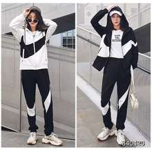 Nike Women'S 2 Pieces Iconic Large Swoosh Black & White Colorblock Hooded Jackets Tracksuit