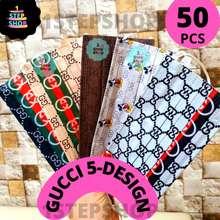 Premium Ear-Loop Design Lv / Burrbery/ Gucci /5 Mix Gucci Supreme Adult Earloop Face Mask Disposable 3Ply 50Pcs Box