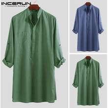 INCERUN Indian Mens Long Shirts Long Sleeve Tops Loose Robe Short Casual Kurta