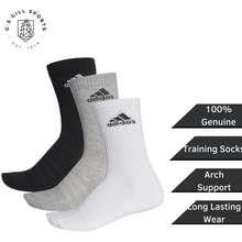 adidas Socks Aa2299 Training Socks Women Men Ribbed Cuffs Crew Socks 3 Pairs - Multicolor