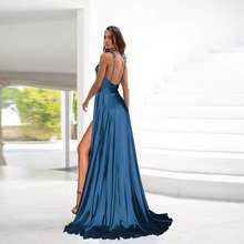 Lee Cooper Vestidos 2021 Sexy Mint Long Silk Prom Dresses High Slit Straps Sveless Satin Formal Women Party Gown Backless