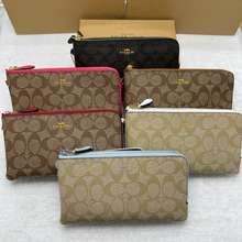 Coach 🔥Special Sales🔥 54057 Double-Layer Clutch Bag Coin Purse Double Compartment Clutch Bag Large Capacity Wallet