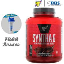 BSN Syntha-6 ULTRA (4 lbs) - Whey Protein Protein Powder Muscle Building Slow Release FREE SAMPLE (Chocolate)