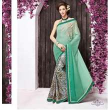 TUSSAAR Stylish Designer Georgette Saree with Saree Blouse Material