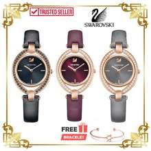 Swarovski [100% Original & Free Bracelet] Stella Leather Rose Gold Women Ladies Watch Jam Tangan Wanita Perempuan