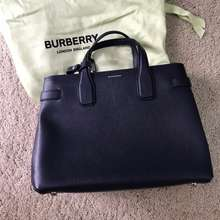 Burberry Tote Navy Leather Bag