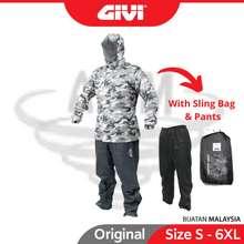 GIVI 2 Layer Raincoat Hat Pocket Double Rainsuit Baju Hujan Topi Rain Coat Army Camouflage S M L Xl 2Xl 3Xl 4Xl Cam01