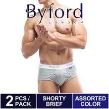 Byford (2 Pcs) Men Brief 100% Cotton Men Underwear Assorted Colours - Bua091Cb