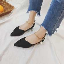 CHI Pointed Flat Shoes With Metal Chain
