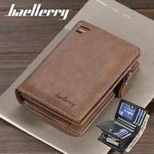 Baellerry Men Pu Leather Wallet Short Vertical Multi-Card Position Coin Card Purse