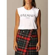 BALMAIN T-shirt Cotton With Logo And Buttons