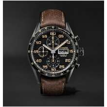 TAG Heuer TAG Heuer - Carrera Automatic Chronograph 45mm Titanium and Leather Watch, Ref. No. CV2A84.FC6394 - Men - Black