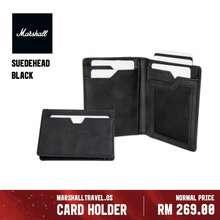 Marshall Suedehead Wallet - Black   Rfid Protection Wallet   Full Grain Leather Card Holder   Bi Fold Foldable Purse