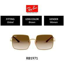 Ray-Ban Square   Rb1971 914751   Women Global Fitting   Sunglasses   Size 54Mm