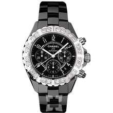 Chanel J12 Black Ceramic Diamond Chronograph Automatic Mens Watch H1178