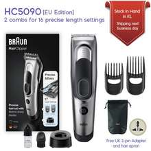 Braun Hc5090 Hair Clipper With 2 Dedicated Combs 16 Precise Length Setting Fully Washable Memory Safety Lock [Eu Edition
