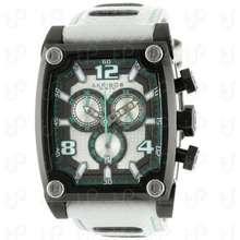 Akribos XXIV Men'S Ak611Wt Explorer Swiss Chronograph White Leather Strap Watch