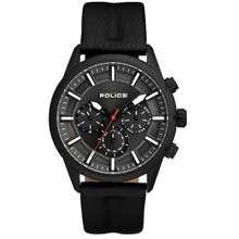 Police Pl15521Jsb/61 Men'S Weston Multifunction Black Leather Strap Watch