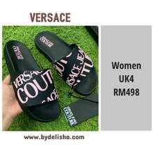 Versace Women Sandals Vjc Logo Slide Black/Pink Uk4