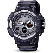 "SBAO """"""Ready Stock"""" S8008 Black-White Dual Display Digital Watch Men Fashion Style Calendar Stopwatch Waterproof Sports Watch"""