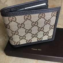 Gucci Men Wallet Authentic GG Beige Canvas