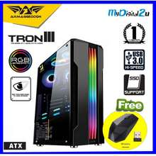 Armaggeddon Tron Iii Atx Gaming Pc Case With Tempered Glass Side Panel Design Free Wireless Mouse