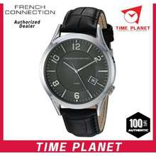 FCUK French Connection Mens Quartz Watch with Brown Dial Analogue Black Leather Strap FC1260BB