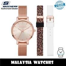 SKECHERS (Official Warranty) Sr9029 Women'S Analog Quartz Rose Gold-Tone Mesh Bracelet Watch With 2 Free Silicone Strap