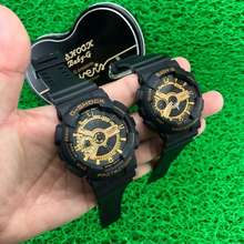 G-shock (11.11 Sale) Gshock Couple Ga-110 Black Gold Mate Digital Analog Watches