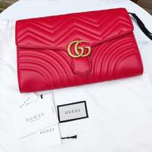 Gucci Authentic Gg Marmont Leather Clutch Bag