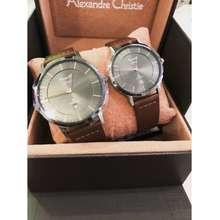 Alexandre Christie 8639 Leather Couple Set Watch