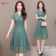 Lee Cooper L-5Xl Elegant Women Fashion Short Sve Dress Party Dinner Lace Midi Dresses Plus Size Gjn7